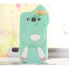 3D чехол Samsung J7 2015 Galaxy J700 с ушками кролик Банни силиконовый голубой