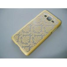 Чехол Samsung G530, G531 Grand Prime ажурный узор кружево золотой