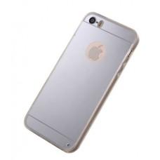 Чехол iPhone 5 5s зеркальный силиконовый серебряный