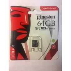 Micro SDHC карта памяти Kingston 64 Гб (80 mb/s 10 class) + бокс в подарок
