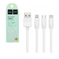 Micro usb кабель + Apple + Type C 3в1 Hoco X1 1 м